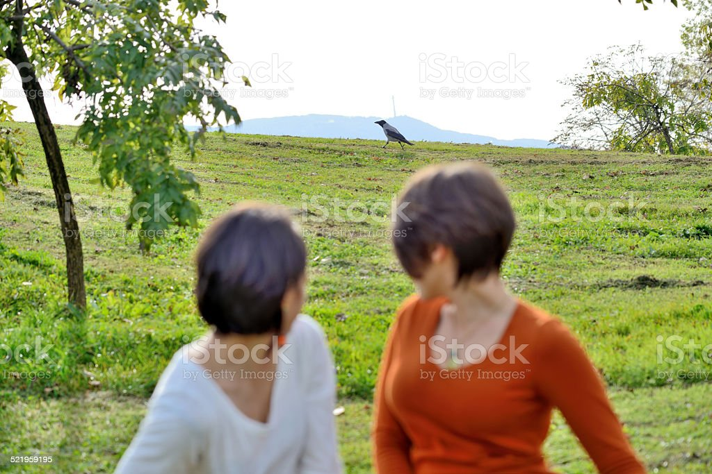 Two women realize they are being watched by a crow. stock photo