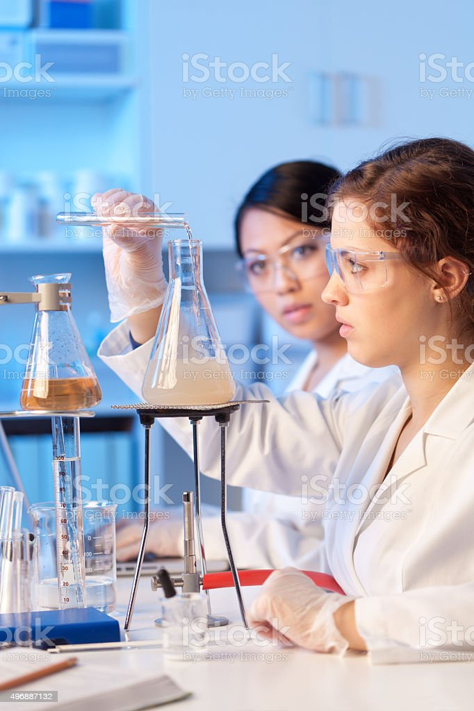 Two Women Science Students Working Together in Chemistry Education Laboratory stock photo