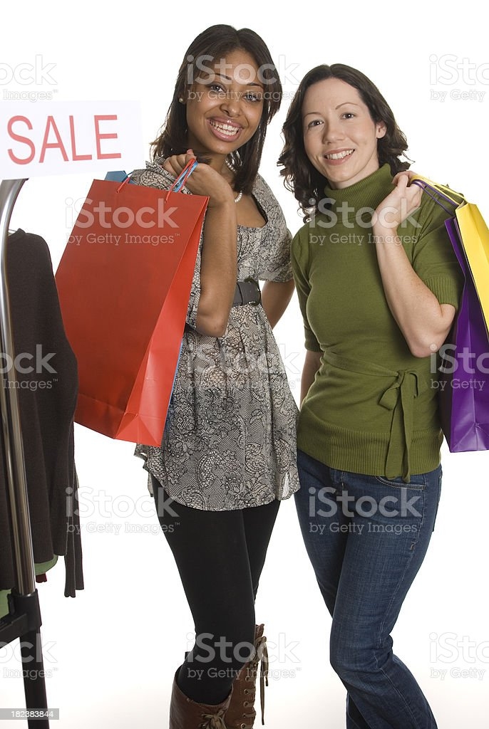 Two Women Shopping royalty-free stock photo