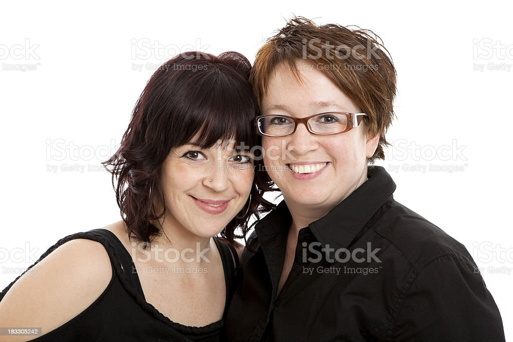 Two women smiling royalty-free stock photo