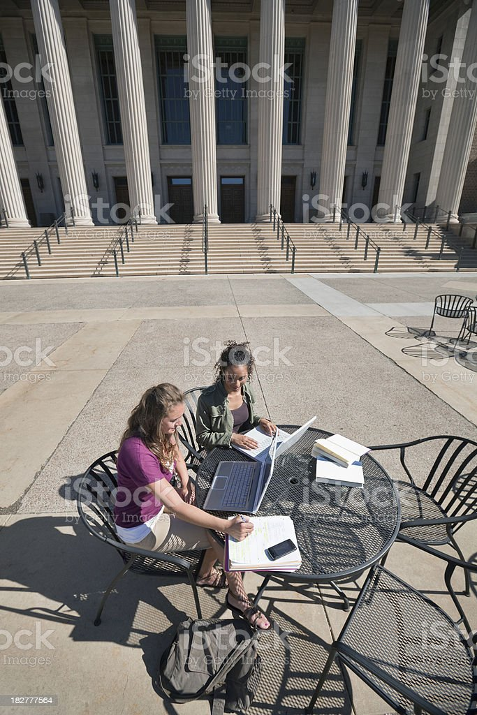 Two Women Student Friends Studying Together in University Campus Vt royalty-free stock photo