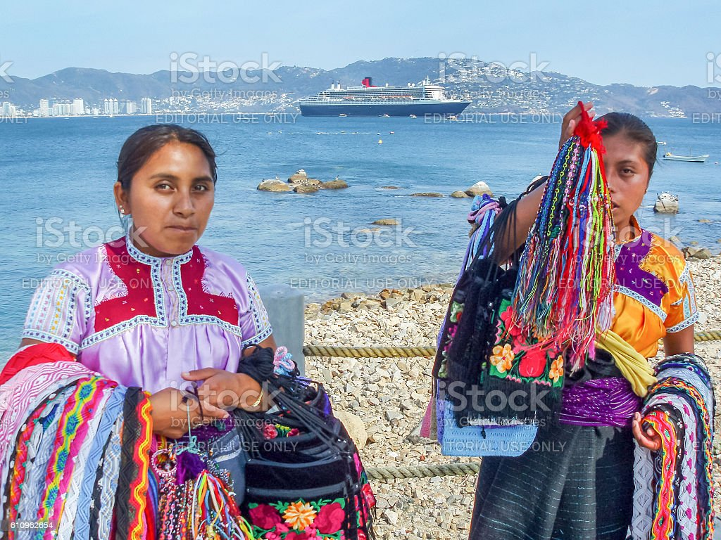 Two women with souvenirs stock photo