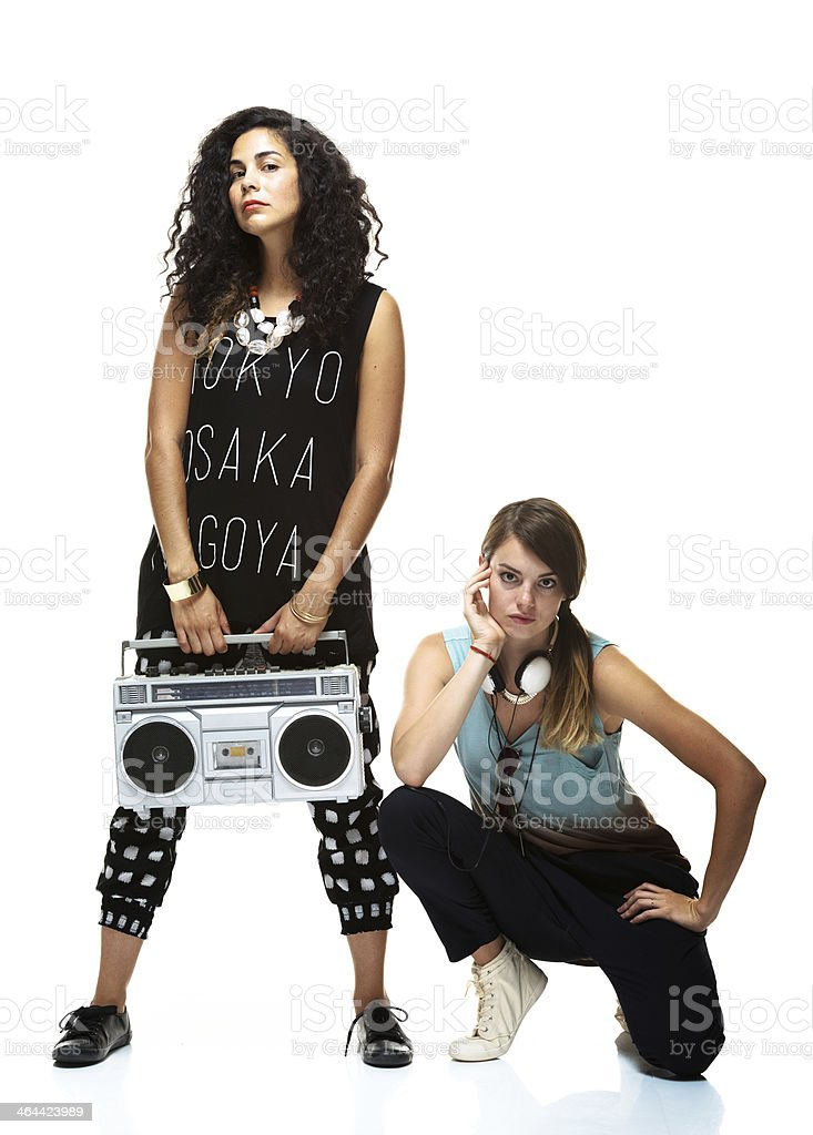 Two women with stereo stock photo