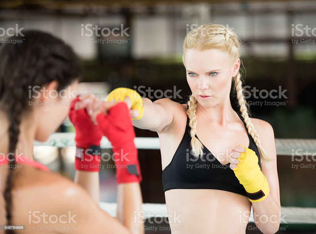 Two Women working out, Boxing, Martial Arts, Fitness, Sparring stock photo