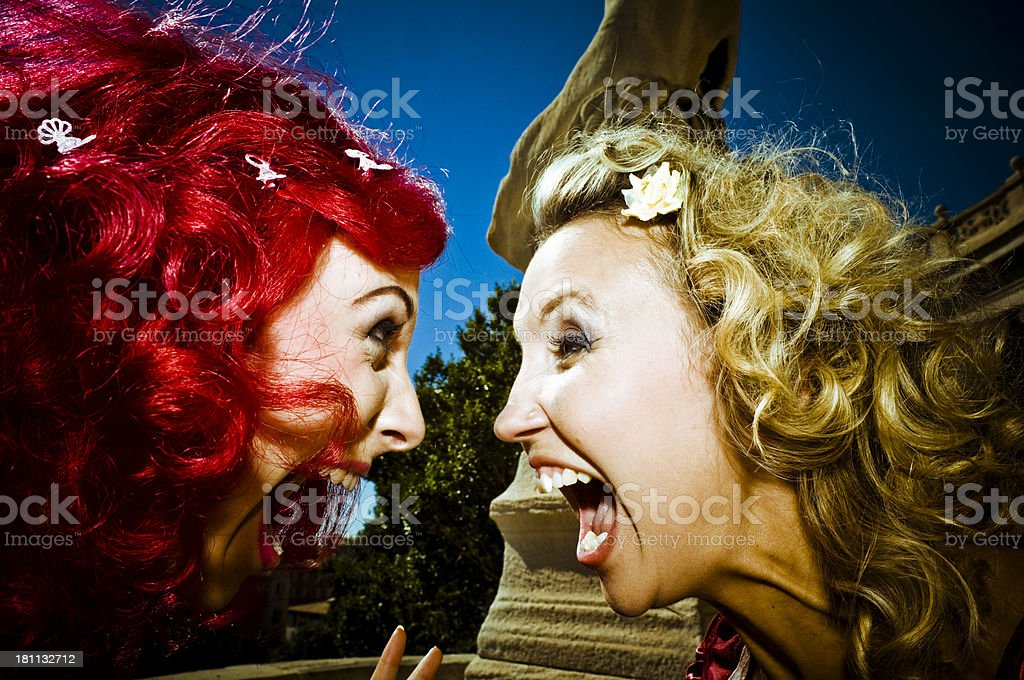 Two Women Yelling at Each Other stock photo