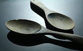 Two wood spoon on the table