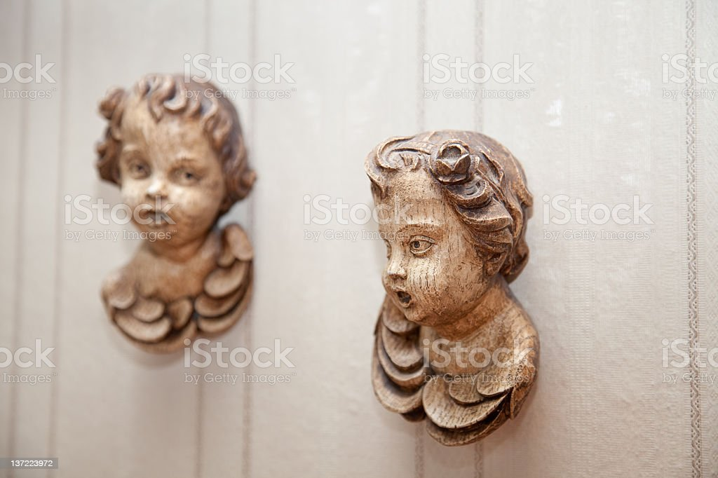 Two wooden angels stock photo