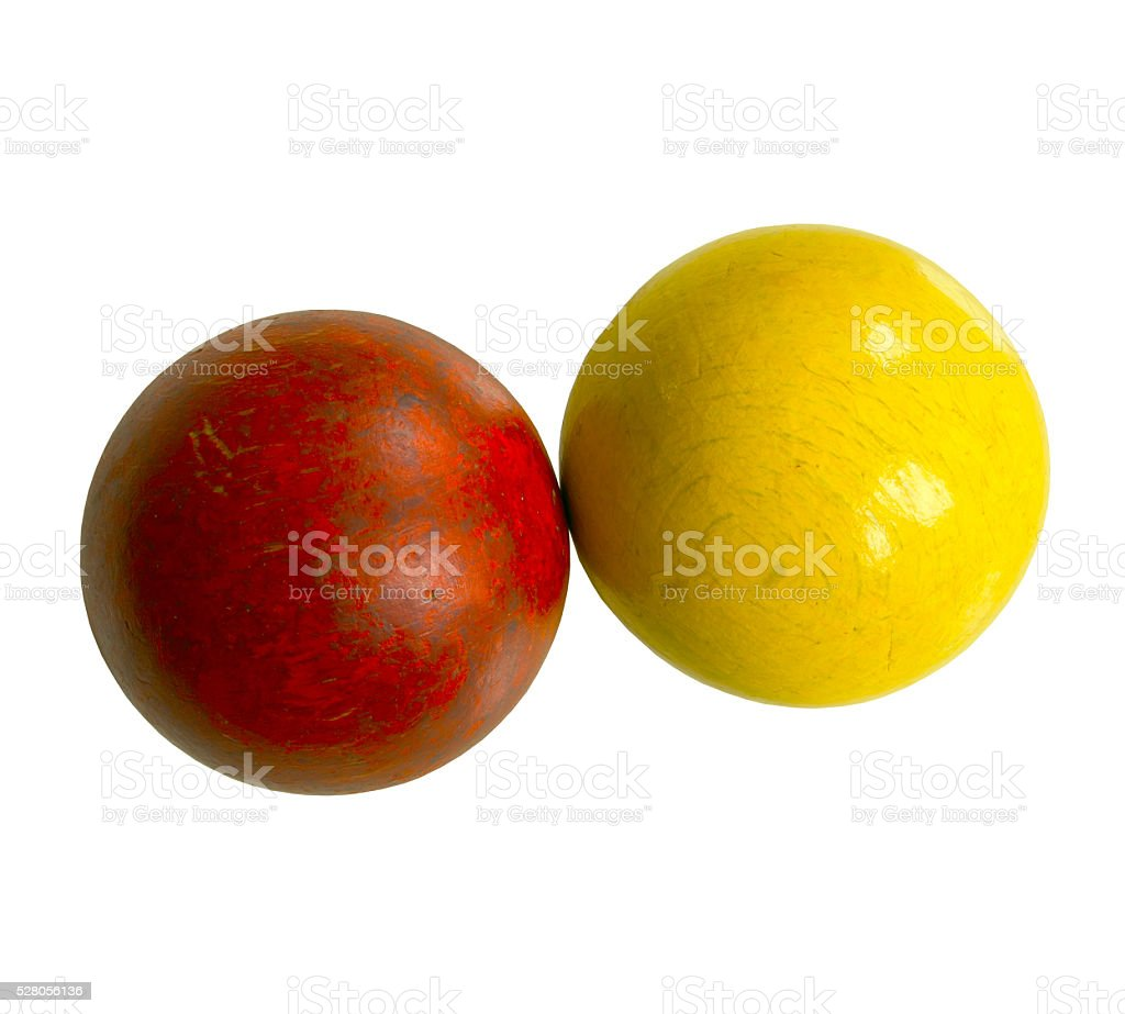 two wooden balls stock photo
