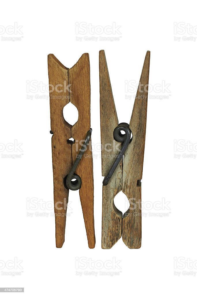two wooden clothespins royalty-free stock photo