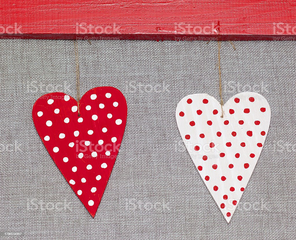 two wooden multicolored hearts royalty-free stock photo