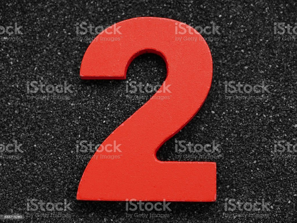 Two. Wooden number. stock photo