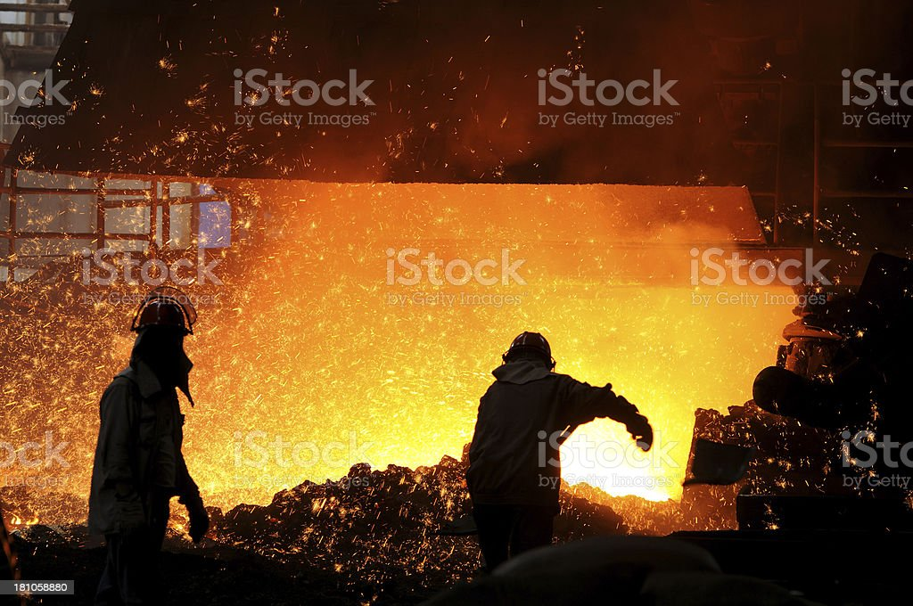 Two workers is working royalty-free stock photo