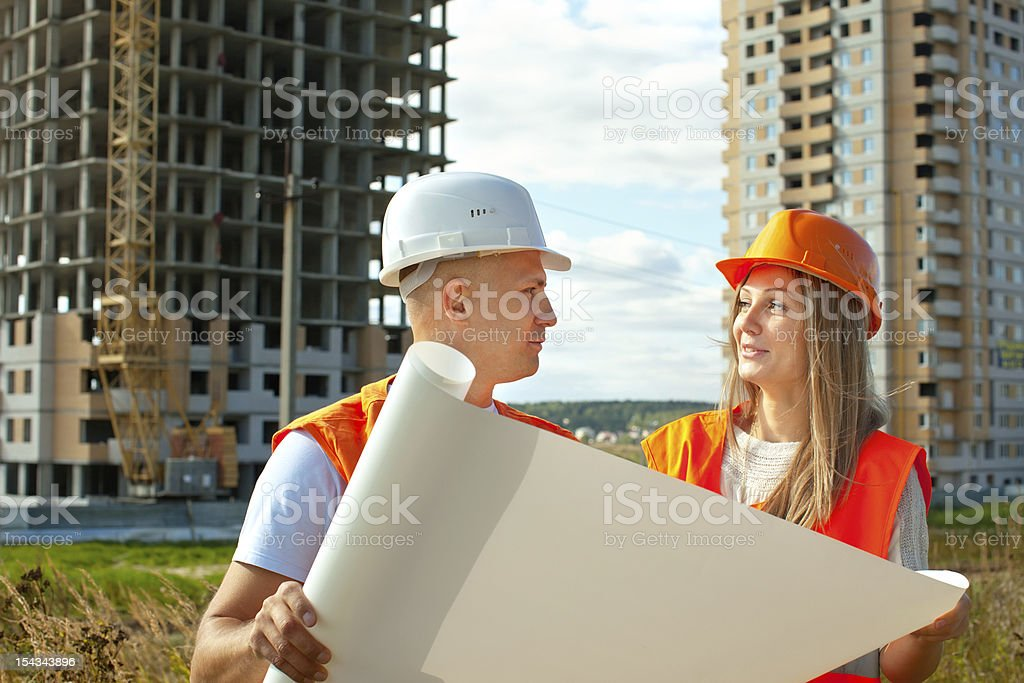two workers on the building site royalty-free stock photo