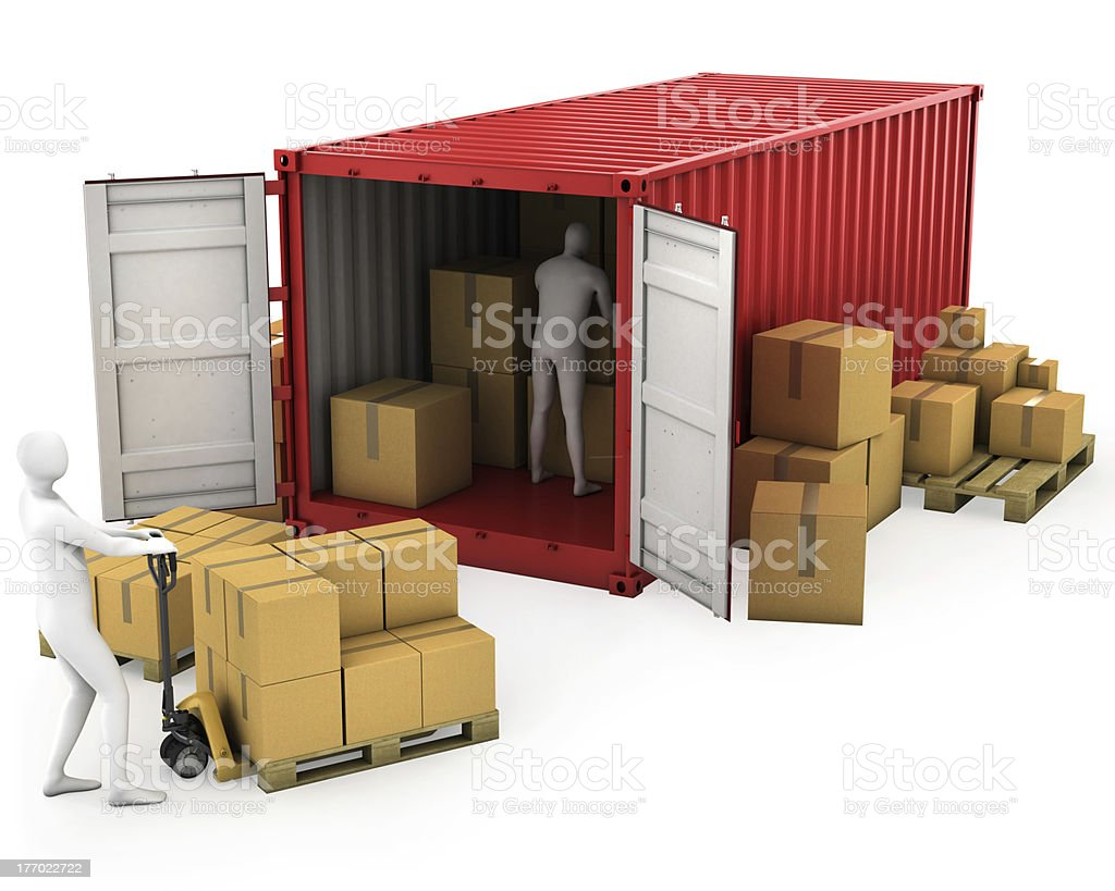 Two workers unload container royalty-free stock photo