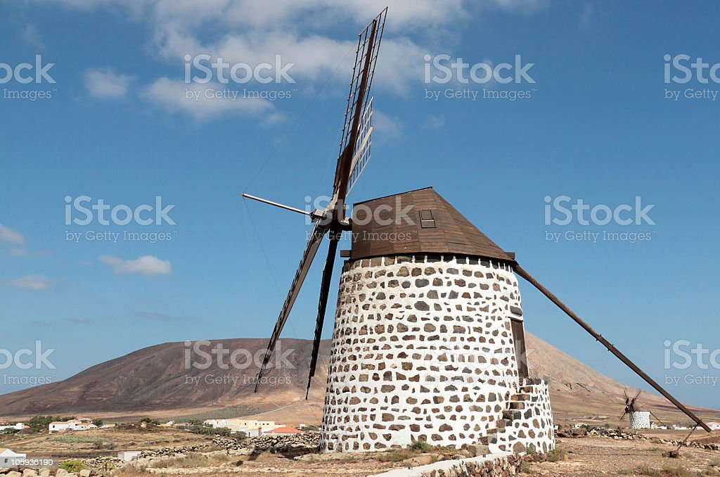 Two Working Traditional Windmills, Villa Verde, Fuerteventura, Canary Islands stock photo