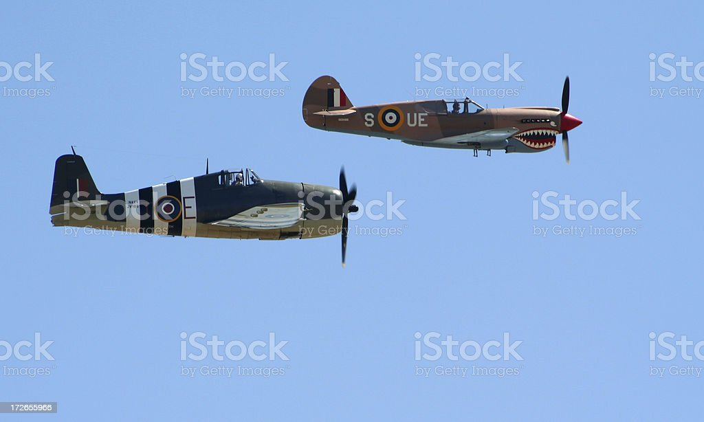 Two WWII Fighters stock photo