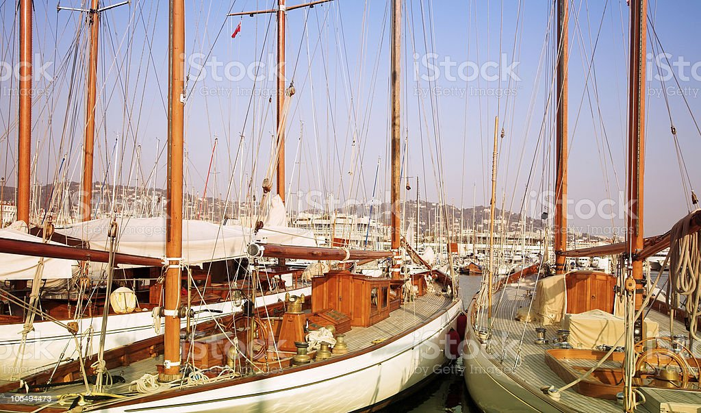 Two yachts in Cannes, France royalty-free stock photo