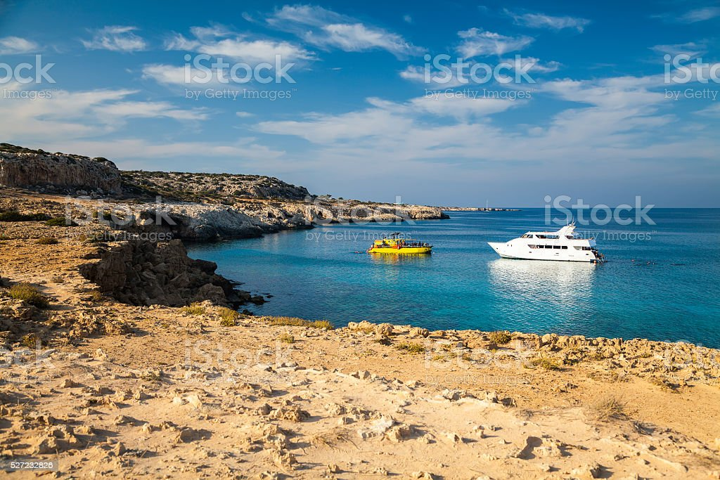 two yachts in the lagoon, Cyprus stock photo