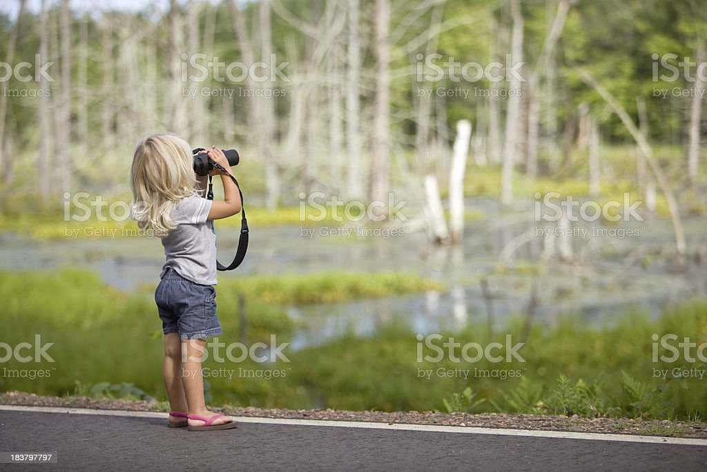 Two Year Old Blonde Girl with Binoculars royalty-free stock photo