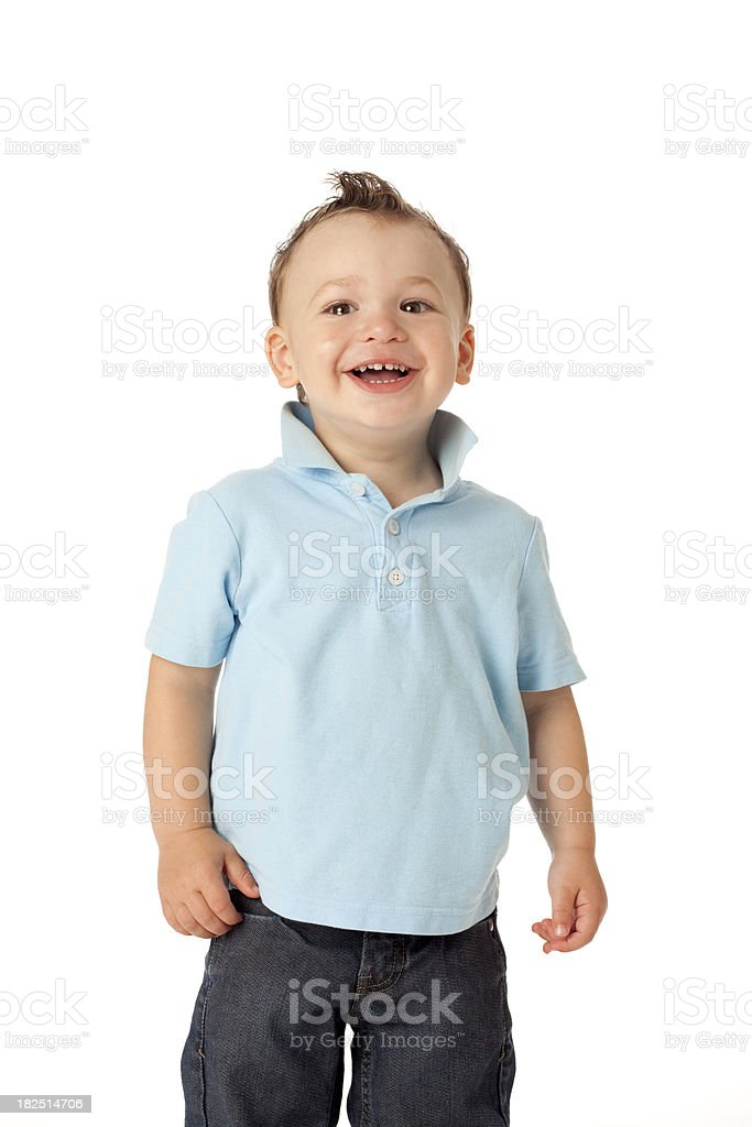 Two Year old Boy in Blue stock photo