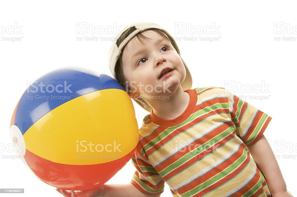 Two year old with Beach Ball royalty-free stock photo