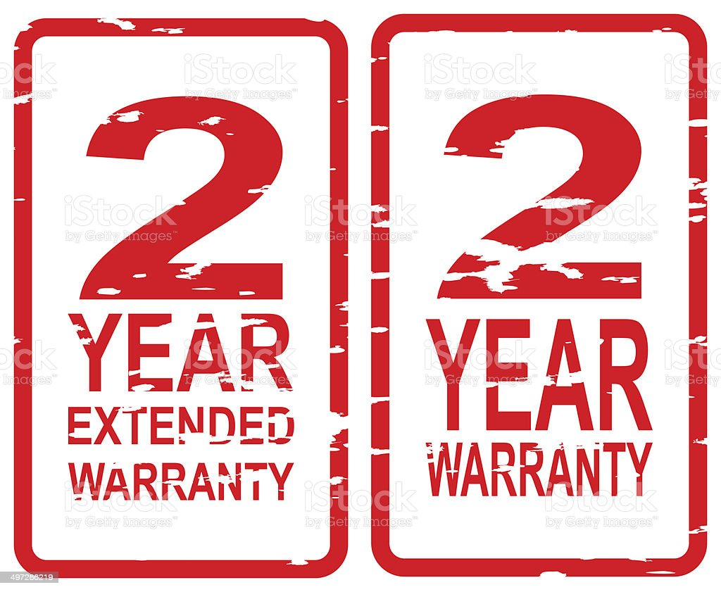 Two Year Warranty Stamps stock photo