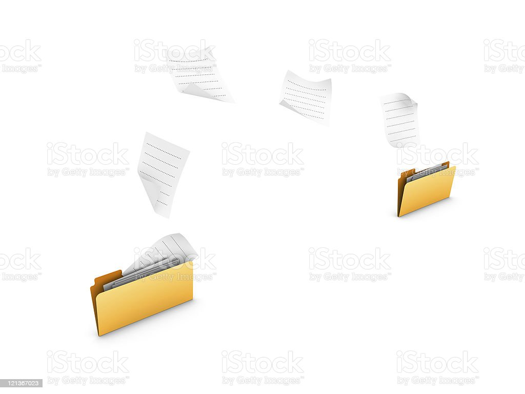 Two Yellow 3D Folders Sharing Information royalty-free stock photo