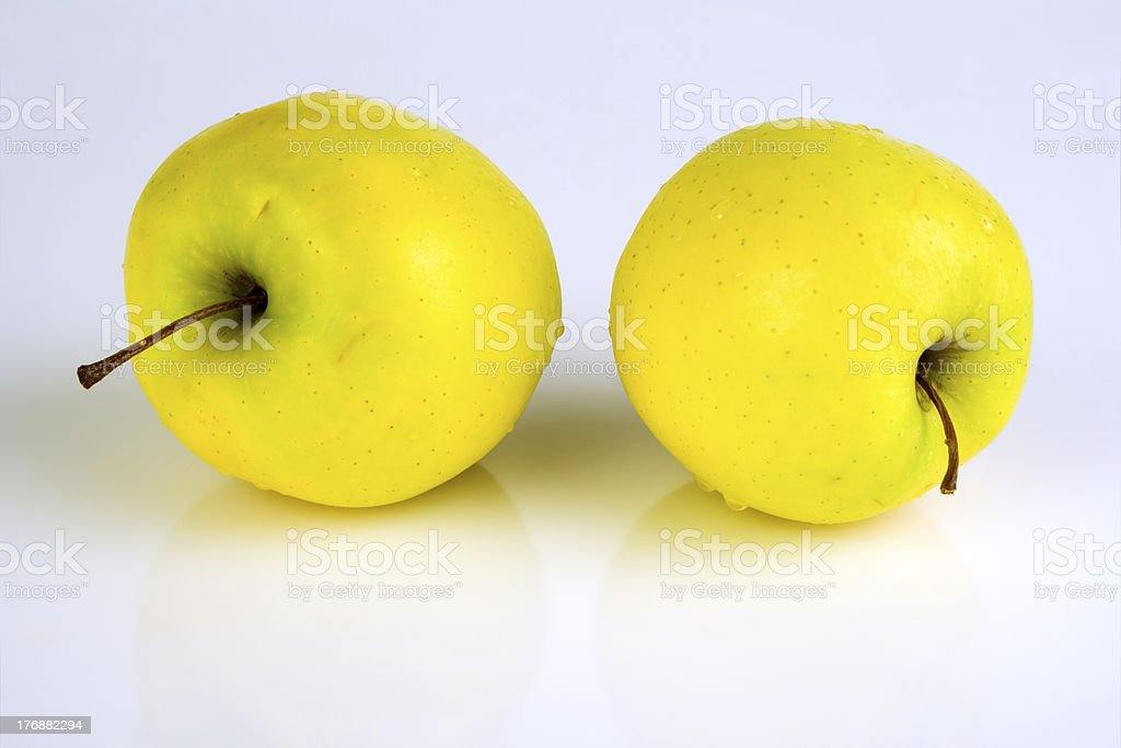 Two yellow apples royalty-free stock photo