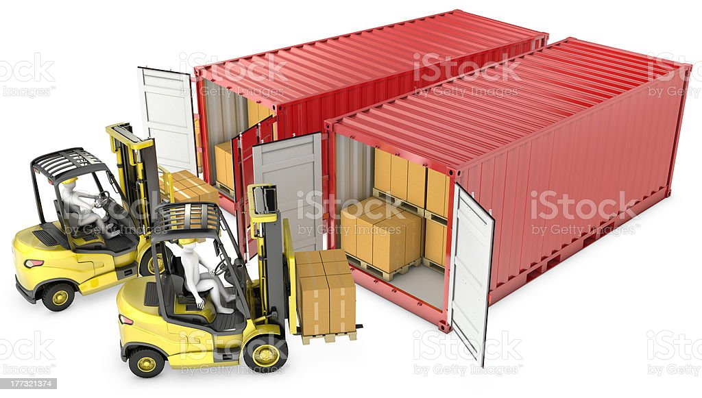 Two yellow lift truck unloading containers royalty-free stock photo