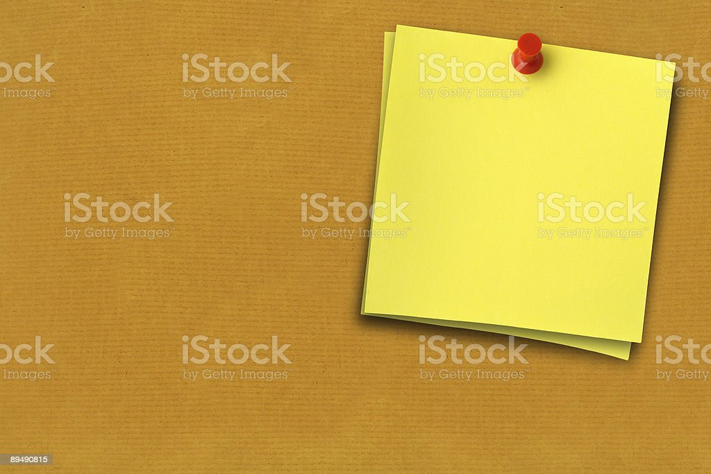 two yellow notes stock photo