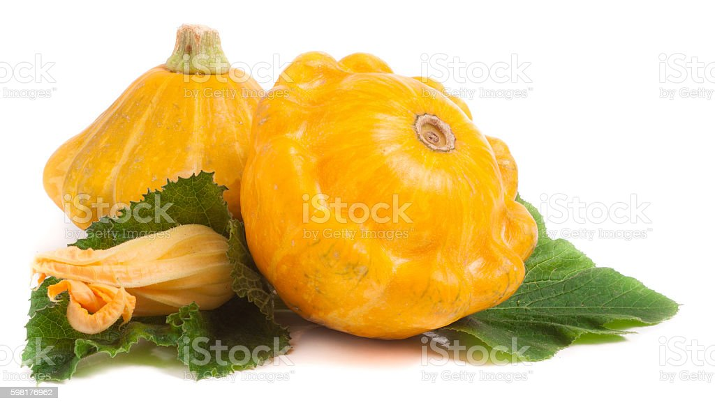 two yellow pattypan squash with leaf and flower isolated on stock photo