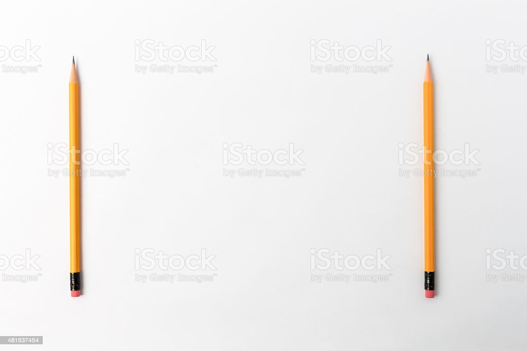 Two Yellow Pencil with Copy Space stock photo