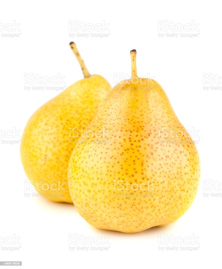 Two yellow ripe pears stock photo