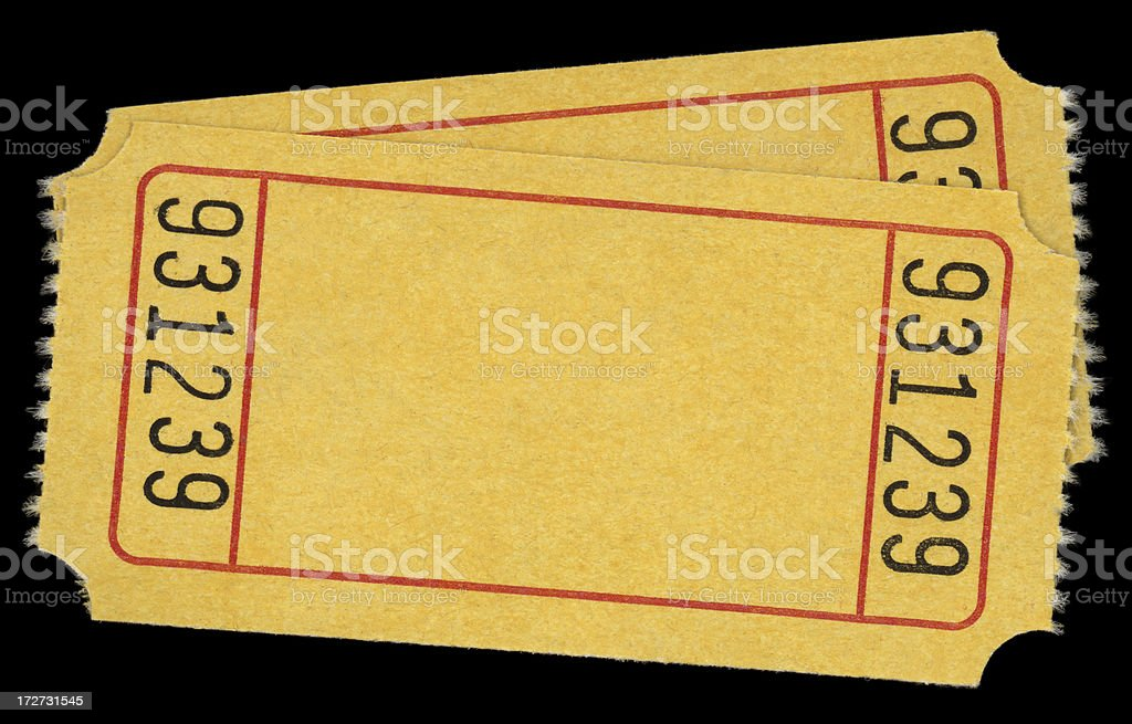 two yellow tickets royalty-free stock photo