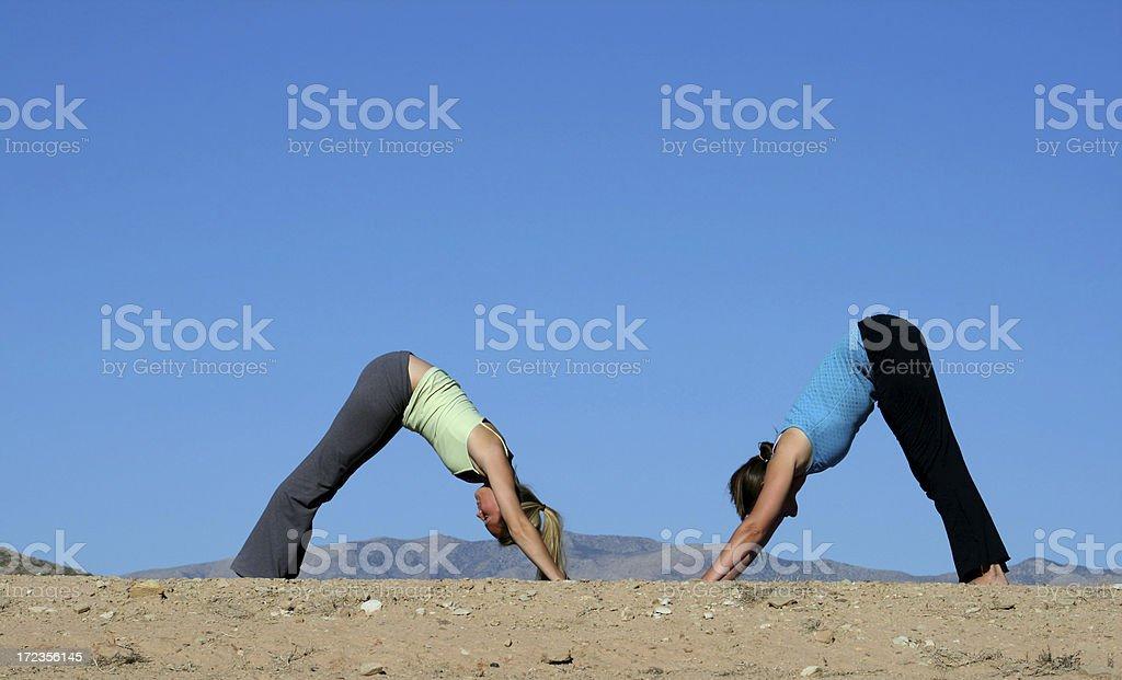 Two Yoga Women (Utah RedRockalypse) stock photo
