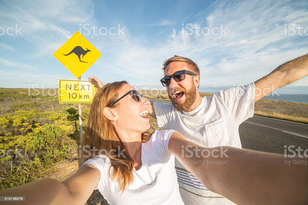 Two young adults take selfie portrait in Australia stock photo