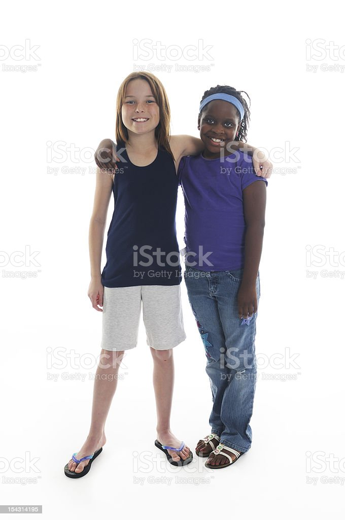 Two Young American Girls on White Background royalty-free stock photo