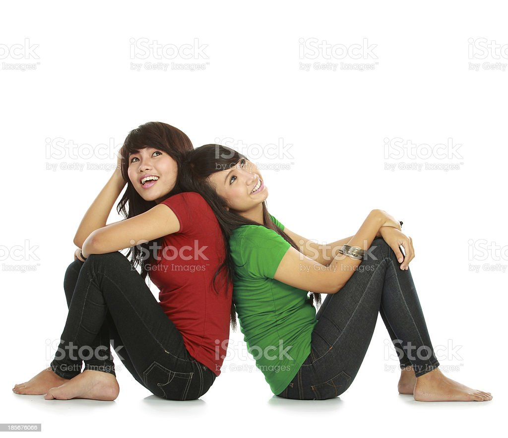 two young asian female thinking royalty-free stock photo