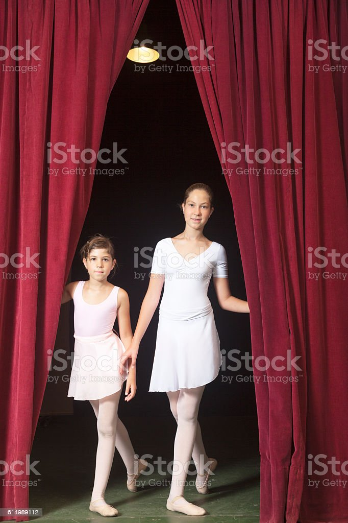 Two young ballerinas stock photo