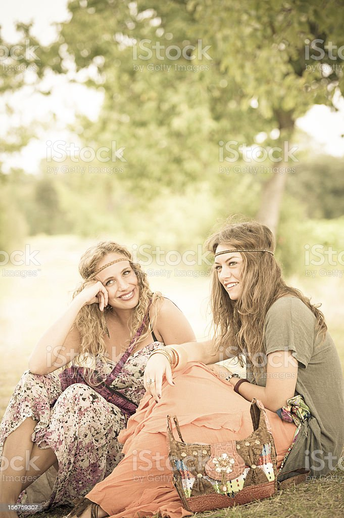 Two young beautiful girls hippie royalty-free stock photo