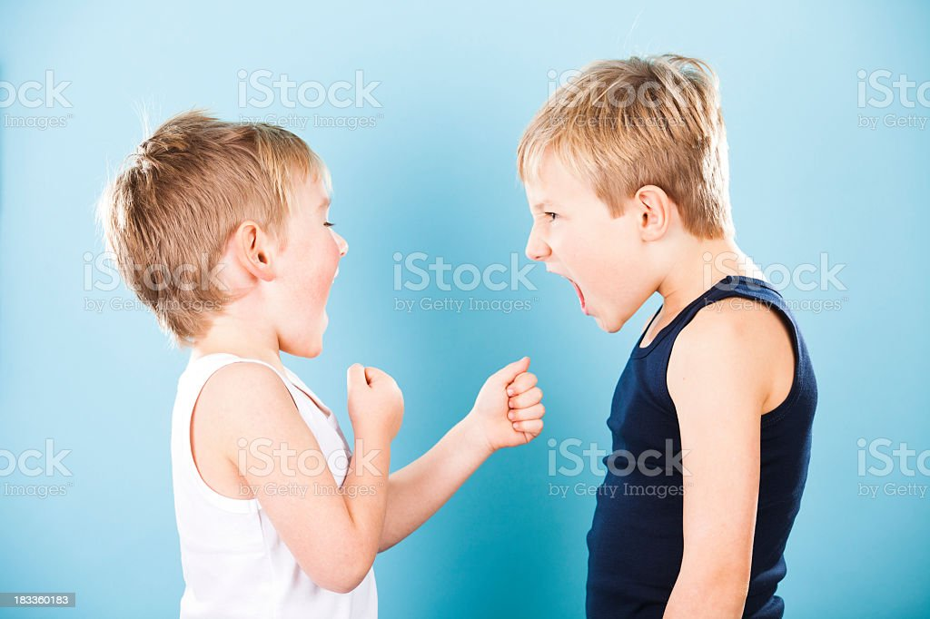 Two young boys and sibling rivalry stock photo