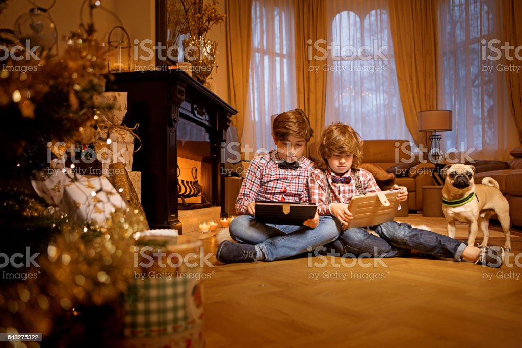 Two young brothers in christmas scene with festive decorations in indoor setting stock photo