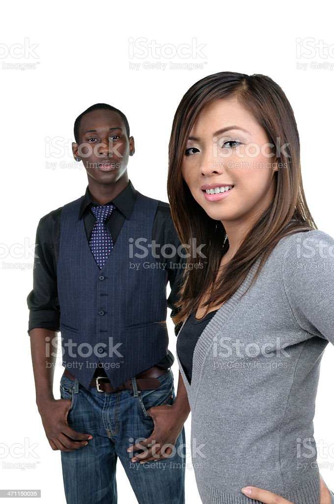 Two young business or school adults royalty-free stock photo