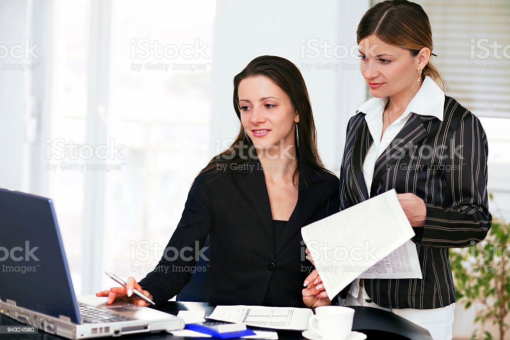 Two Young business woman at work royalty-free stock photo