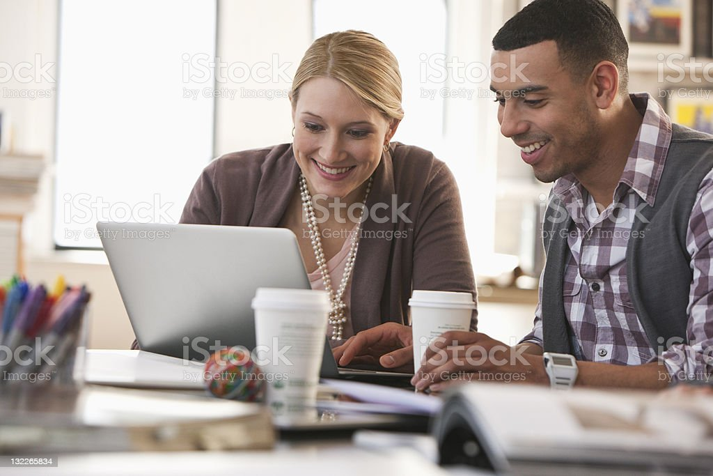 Two young businesspeople royalty-free stock photo