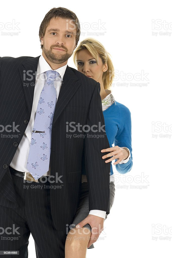 Two young contemporary business people royalty-free stock photo