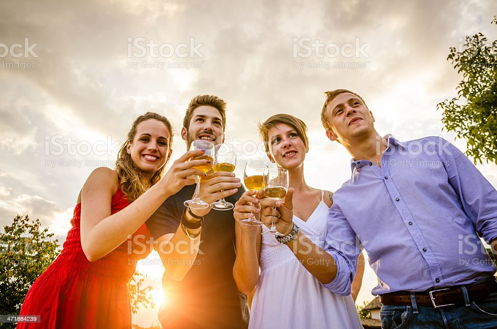 Two young couples having the aperitif near a swimming pool royalty-free stock photo