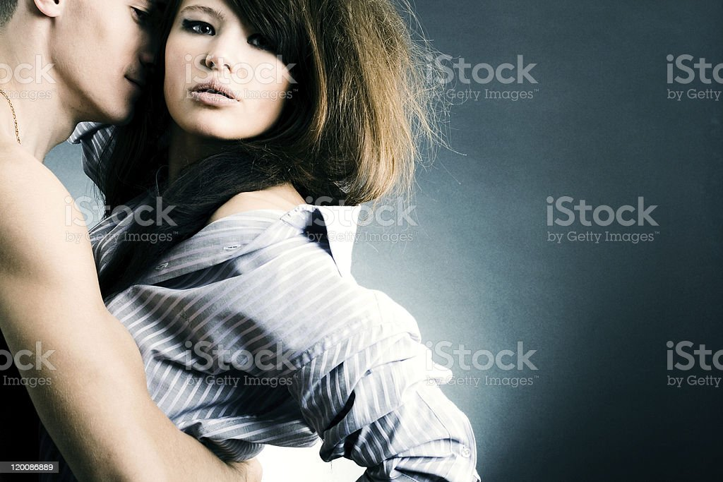 Two young fans in passionate embraces. royalty-free stock photo