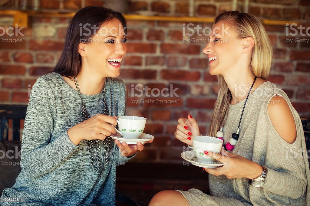 Two young female friends gossiping in a bar stock photo
