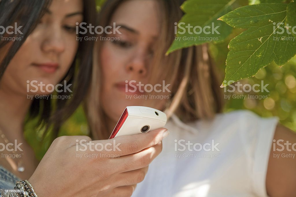 Two young females looking at their mobile phones. stock photo